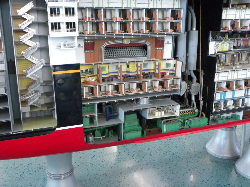 Cut away wall of cruise ship model