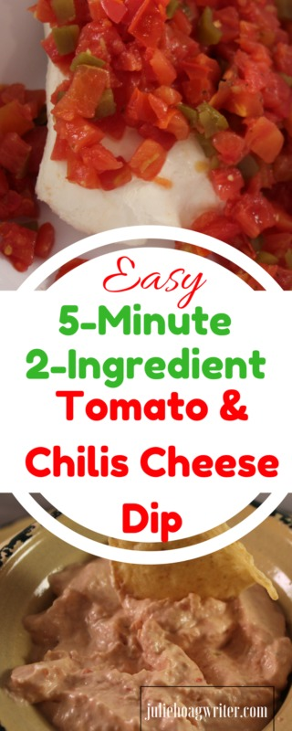 Easy 5 Minute 2 Ingredient Tomato & Chilis Cheese Dip. Easy 5 minute dip | 5 minute dip recipes | 5 minute dip recipes cream cheese | easy dips for a party | easy dip recipes | easy dips and appetizers | easy dips for a party cold | simple dips | simple dip recipes | dimple dips for chips | cream cheese dip reicpes | rotel dip | rotel recipes | appetizer dips cold | appetizer dips easy | appetizer dip recipes | appetizer dips for a party @juliehoagwriter.com affiliate links