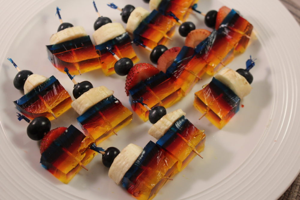 Fruit Jello Kabobs. Snack or healthy dessert. Kid-friendly recipe.
