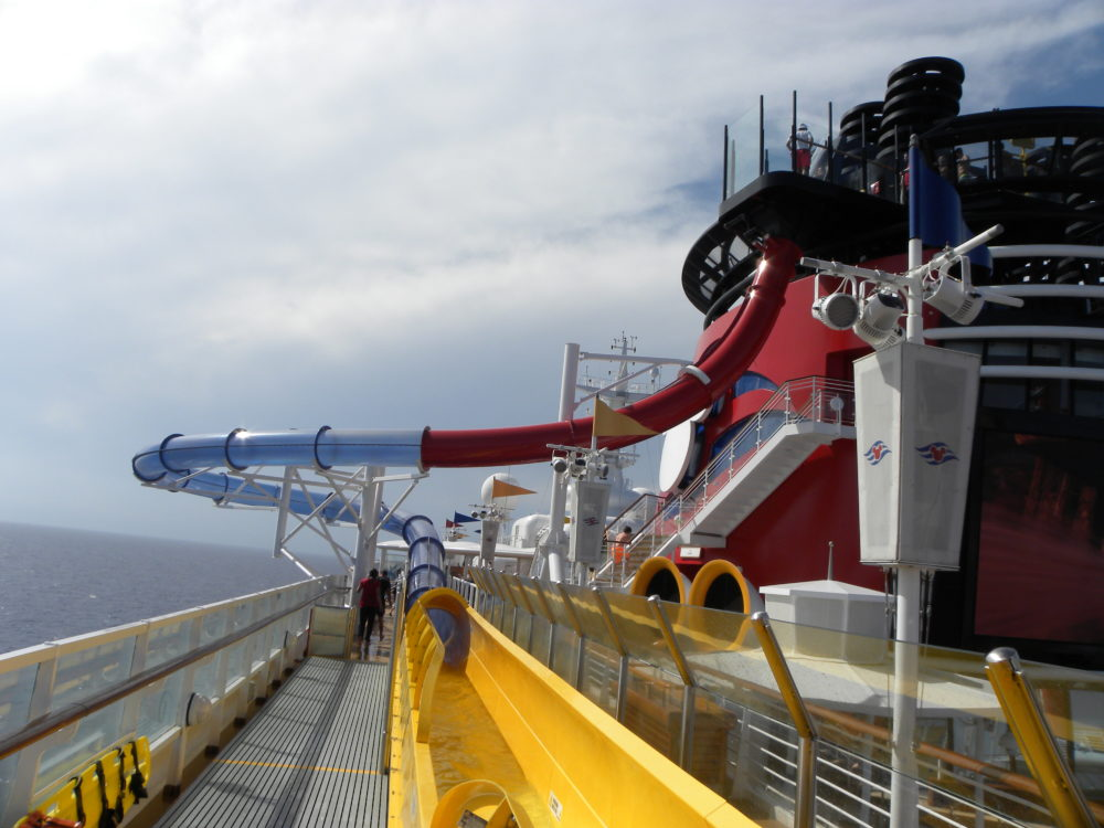 Full side view of slide chute going out over ocean