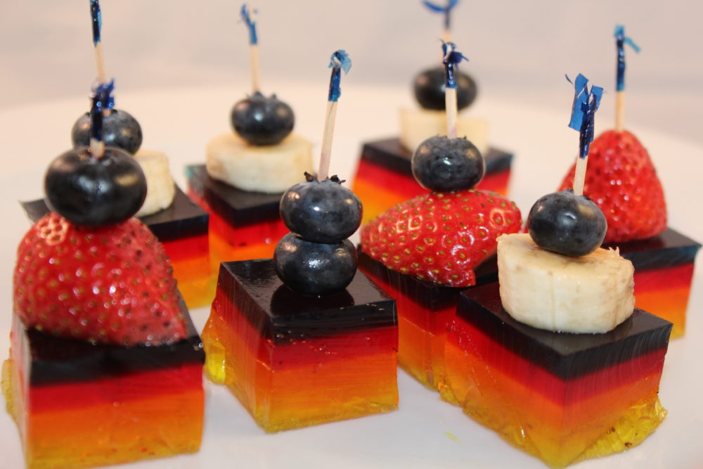 Larger Fruit Jello Kabobs...use a spoon assist to eat these
