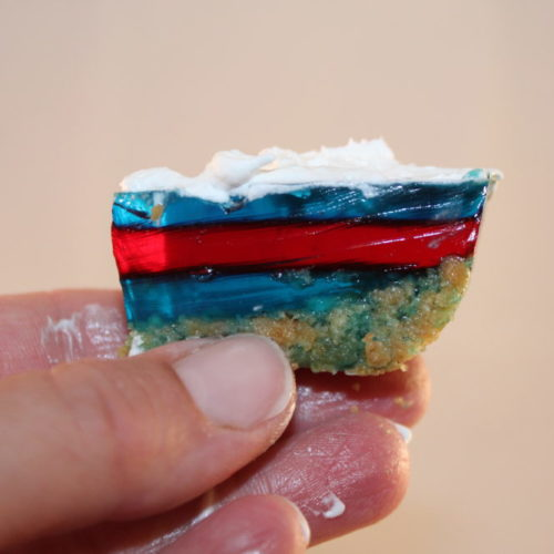 Layered Holiday No-Bake Jell-O Bars