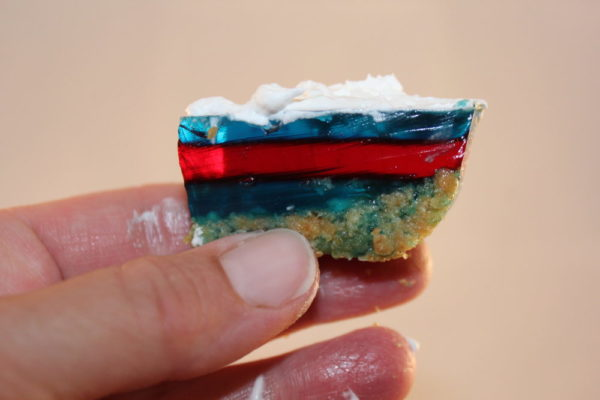 Layered Holiday No Bake Jello bars pieces best