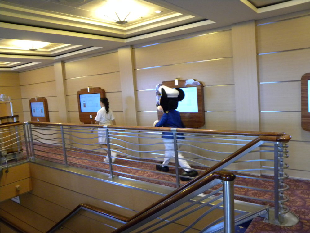 Mickey Mouse walking around the cruise ship