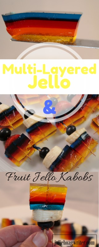 Multi-Layered Jello and Fruit Jello Kabobs. jello recipes | jello bars kids | jello treats for kids | easy jello recipes | simple jello recipes | desserts for a crowd | yummy recipes | jello snacks for kids | jello snacks ideas | fruit kababos for party | fruit kabobs kids | fruit kabobs | fruit kabobs for party skewers @juliehoagwriter.com affiliate links