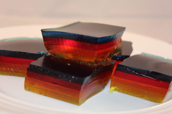 Pieces of Multi Layered Jello