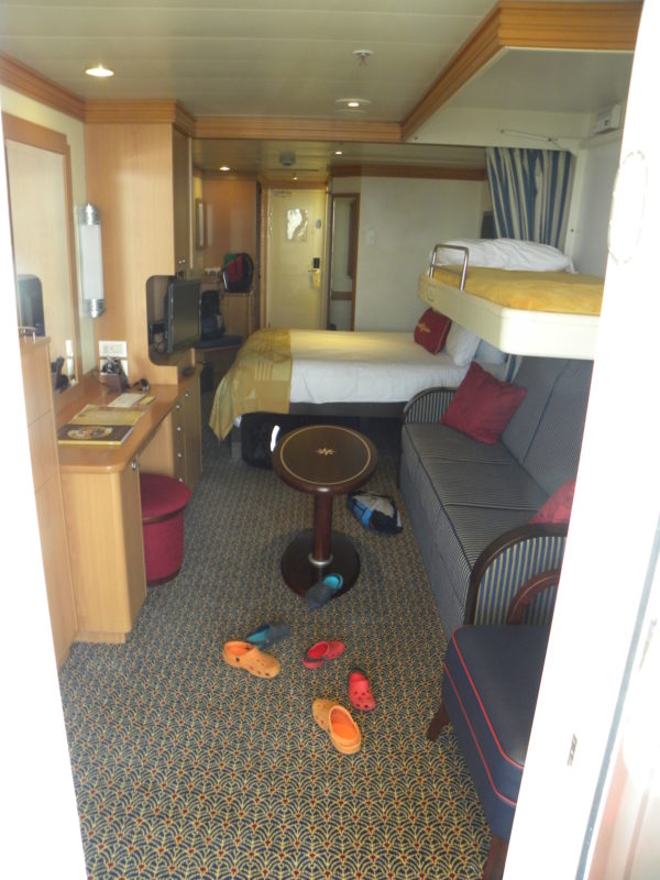 Stateroom on cruise ship, view from balcony
