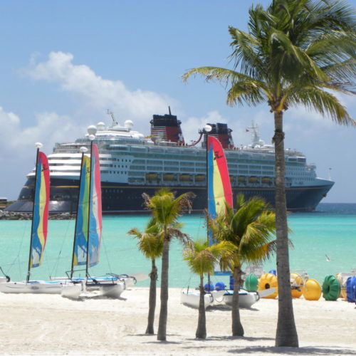 View of the Disney Cruise Ship the Magic from the island of Castaway Cay