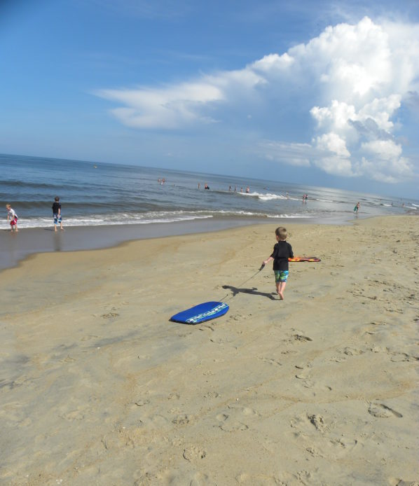 Boogie boards on the beach at OBX Outerbanks, Kitty Hawk, North Carolina.