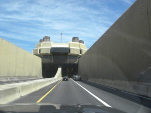 Chesapeake Bay Bridge Tunnel entrance going into tunnel