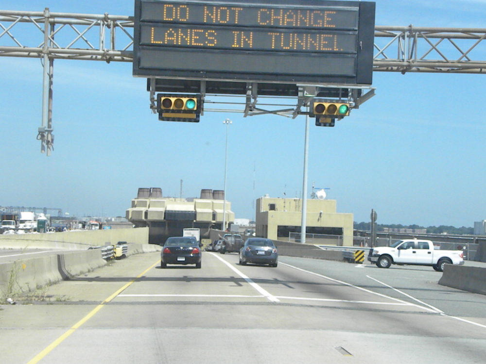Chesapeake Bay Bridge Tunnel entrance stoplights en route to Washington D.C.