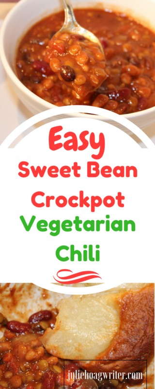Easy Sweet Bean Crockpot Vegetarian Chili-crockpot recipes easy-vegetarian recipes healthy-vegetarian meals-vegetarian meal prep-vegetarian recipes easy-vegetarian recipes dinner-meatless meals-meatless Monday-meatless dinners-meatless meals healthy-chili recipe-chili crockpot-chili recipe crockpot-bean chilis recipe-bean chili crockpot-bean chili vegetarian-bean chili recipe vegetarian-hybrid recipe-bean recipes-beans-vegan recipes-football party food-fall food @juliehoagwriter