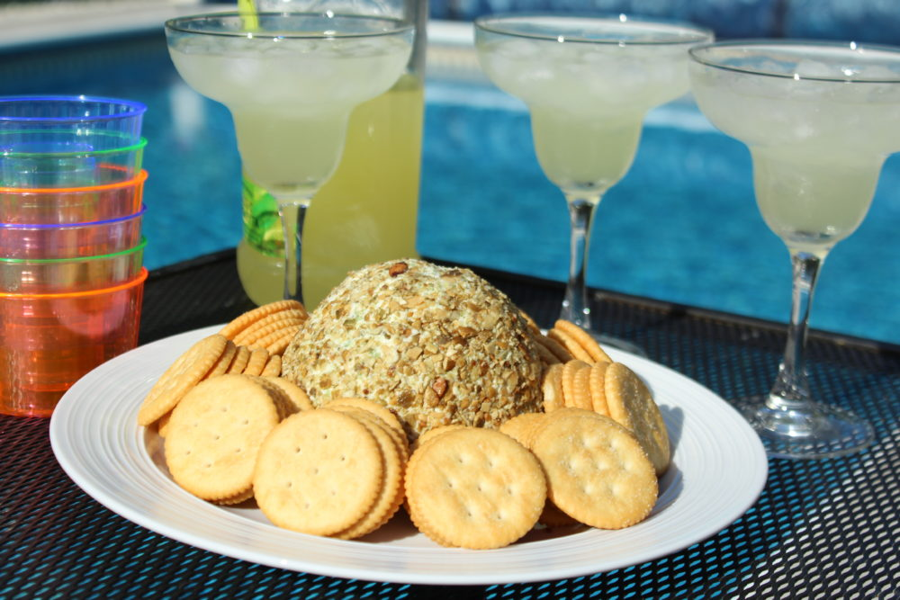 Jalapeno Chia and Pumpkin Seed Cheese Ball appetizer recipe enjoy at an outdoor pool party or grilling get together. Appetizers for a crowd | easy to make appetizer | summer entertaining | holiday entertaining