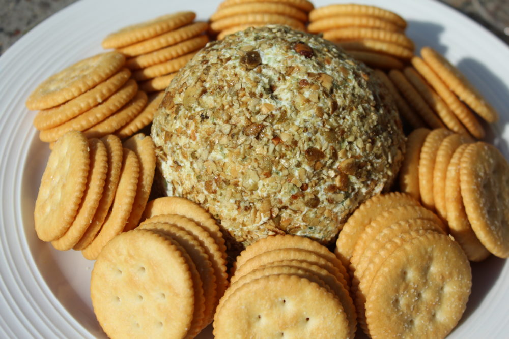 Jalapeno Chia and Pumpkin Seed Cheese Ball appetizer recipe for a party. vegetarian recipe. easy appetizer recipe. appetizers for a crowd.