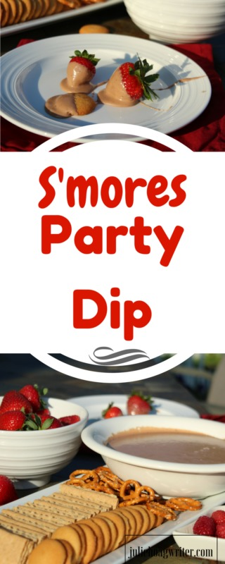 S'mores Party Dip. A simple, easy-to-make dessert dip great for parties or groups. fall food recipes-smores recipes-dips and appetizers easy-simple dip recipes-dips-dip recipes-dips for parties-easy dip-dessert dip recipes easy-fall foods for a party-potluck recipes-appetizers for a crowd @juliehoagwriter.com