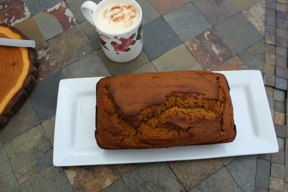 Maple Cinnamon Pumpkin Bread with White Chai Tea Latte