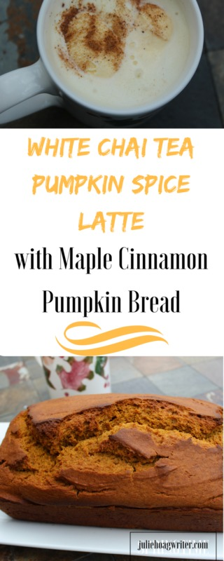 White Chai Tea Pumpkin Spice Latte and Maple Cinnamon Pumpkin Bread-pumpkin bread recipe-chai tea latte-pumpkin bread easy-pumpkin recipes-fall recipes-fall food recipes | fall food ideas | hot tea #falldrinks #sponsored #pumpkinspicelatte ice cream drinks-chai recipes-chai recipes tea-fall tea-maple syrup recipes-cinnamon recipes-autumn recipes-autumn baking #fallbakingrecipes fall baking ideas @juliehoagwriter.com