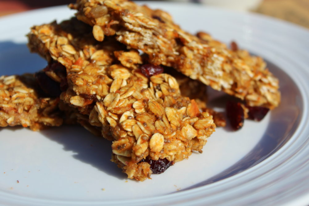 Healthy Chewy Homemade Carrot Banana Granola Bars a healthy breakfast or snack food. Easy to make. Kids love this snack too. Family friendly food. #breakfastitem #snack #healthy with fruit and vegetable ingredients and chia seeds.
