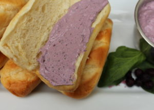 Blueberry Spinach Cream Cheese spread on brioche roll. #Easyrecipes #breakfast #breakfastrecipe #blueberryrecipe #breakfastspread #creamcheese #breakfastrecipe #easyrecipe #spinachrecipe