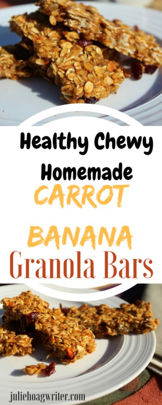 Healthy Chewy Homemade Carrot Banana Granola Bars. A healthy easy to make breakfast or snack. #healthyeating #easyrecipe #easycooking #breakfastlover #breakfasttime #chiaseedrecipes #lowsugarrecipe #snackfood #snackideas #bananarecipes #easybreakfastideas #easybreakfastrecipe #healthychoices #healthysnackfoods #healthysnackideas #healthysnackforkids #healthysnackrecipes #breakfastontherun #kidfriendlysnacks #kidfriendlyrecipe