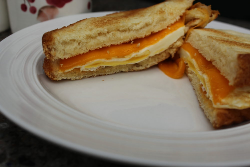 One pan egg sandwich on brioche bread