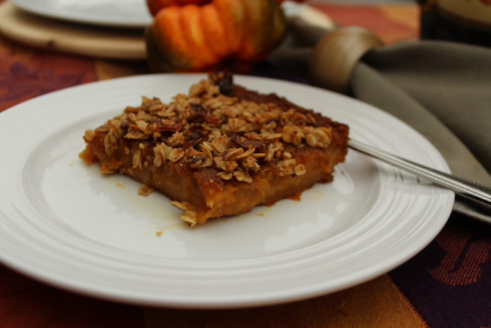 Rich Decadent Butternut Squash Apple Bars dessert for Thanksgiving or in the fall. Made with butternut squash, a vegetable, but tastes like a dessert. Yum! Photo credit: Julie Hoag #Thanksgivingrecipes #recipesforfall #squashrecipes #butterycomfortfood #comfortfooddessert #comfortfood