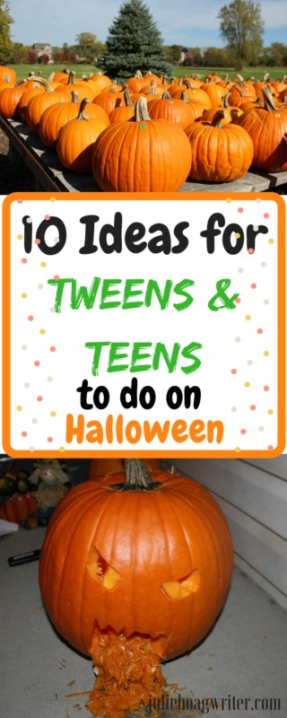 10 Ideas for Tweens and Teens to do on Halloween #halloween #halloweenparty #halloweendecor #halloweencostumes #halloweenfun #fallactivities #fallactivitiesforkids #tweens #teens #fallholidaytreats #ideasforhalloween #pumpkins #pumpkincarvingideas #pumpkincarving #fall #activitiesforkids #makehalloweengreatagain