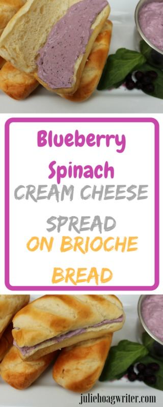Blueberry Spinach Cream Cheese Spread on Brioche Bread Healthy cream cheese spread for bread or dip for crackers. Healthy snack. Family food. #breakfasttime #breakfastrecipes #easyrecipe #EasyRecipes #creamcheese #brunch #BrunchIdeas #morningfood #foodielife #deliciousfood #delicioussnack #healthysnack #healthysnackideas #snackideas #snacksforkids #snacksforguests #recipeideas #brioche