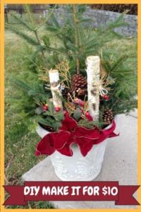 Cheap Outdoor DIY Christmas Decoration for $10 holiday decor. #diy #diyproject #diychristmasdecoration #homedecor #outdoorchristmasdecoration #decoratingforthehholidays #upcycle #cheapdiy #decorate #diychristmas #christmasdecor