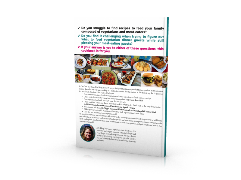 One Dish Two Diets Cookbook Recipes for the Hybrid Vegetarian and Meat-Eating Family Back of book