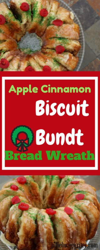 Apple Cinnamon Biscuit Bundt Bread Wreath easy Christmas recipe for breakfast, brunch or dessert. Easy recipe. #christmasbaking #holidaybaking #christmasrecipes #christmastreats #entertaining #breakfast #apple #biscuits #easyrecipes #brunch #brunchideas #breakfastrecipes #bread #christmasideas #snacks #recipes #recipeideas #recipeoftheday