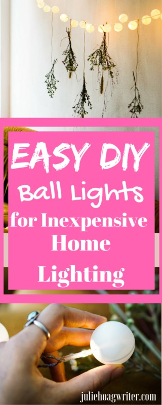 Easy DIY Ball Lights for Inexpensive Home Lighting Home decor idea. Frugal DIY. #diyhomedecor #diyproject #diy #crafting #homedecor #homedecoration #homedecorideas #frugalliving #frugaldecoratingideas #inexpensive #homemade #holidaydecor #decorating #decoratingideas #newyearseve #kidsroom #outdoordecor