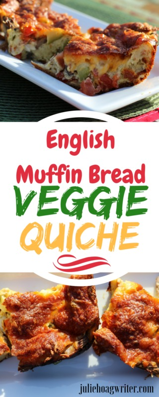 English Muffin Bread Veggie Quiche closeup. Breakfast, brunch, or lunch recipe. #breakfast #quiches #quicherecipes #quichedish #vegetarianfood #vegetariandishes #vegetarianrecipe #breakfasttime #breakfastlover #breakfastrecipe #brunch #brunchtime #lunch #lunchtime #lunchideas #eggdishes #eggrecipes #easyquiche