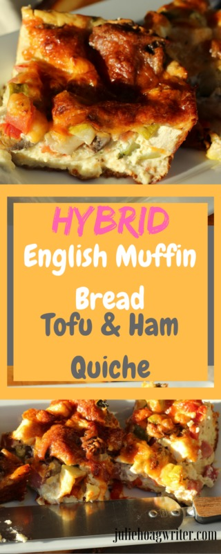 Hybrid English Muffin Bread Tofu and Ham Quiche One Dish Two Diets Vegetarian and Meat-eater. Meatless and Meat containing one recipe. Hybrid English Muffin Bread Tofu and Ham Quiche One Dish Two Diets #vegetarian #vegetarianrecipes #hybrid #breakfast #breakfastrecipes #brunch #brunchideas #lunch #familybreakfast #quiche #quiche #eggs #vegetable #easyrecipes #holidayrecipes #tofu #cooking #cookingtips #familydinner