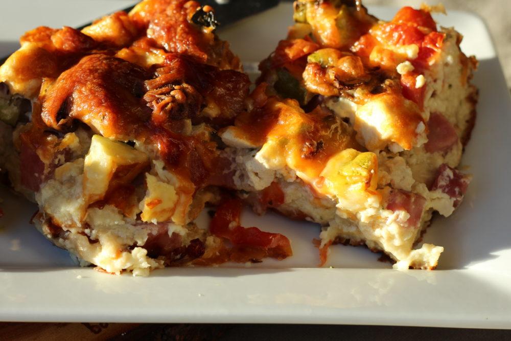 Hybrid English Muffin Bread Veggie Quiche with Tofu and ham. #vegetarianrecipes #familymeals #recipes #breakfastrecipes #lunchrecipes #easyrecipes #yummyfood #quicherecipes