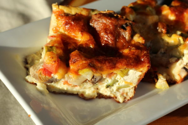 Hybrid English Muffin Bread Veggie Quiche with Tofu and ham. #vegetarianrecipes #familymeals #recipes #breakfastrecipes #lunchrecipes #easyrecipes #yummyfood #quicherecipes