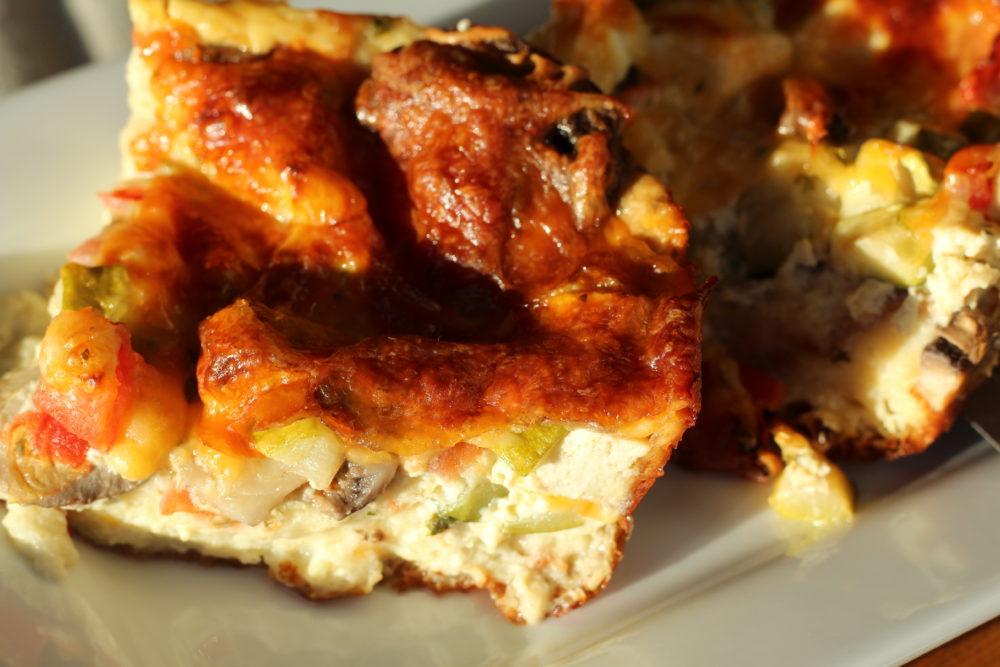 Hybrid English Muffin Bread Veggie Quiche with Tofu #vegetarianrecipes #familymeals #recipes #breakfastrecipes #lunchrecipes #easyrecipes #yummyfood #quicherecipes
