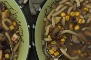 Hybrid Vegetarian and Chicken Mushroom Noodle Soup One Recipe Two Diets #hybridrecipe #vegetarianfood #vegetarianrecipe #noodlesoup #asiannoodlesoup #crockpot #crockpotrecipe #crockpotmeal #Fortune #ChefYaki