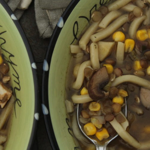 Hybrid Vegetarian and Chicken Mushroom Noodle Soup One Recipe Two Crockpots