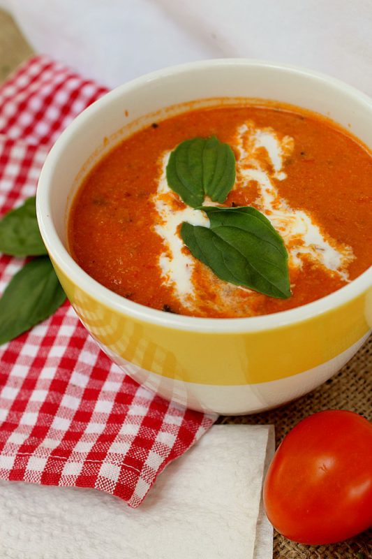 Creamy and Delicious Roasted Tomato soup with diary. #soup #vegetarian #vegetarianrecipes #tomato #dinner #dinnermeal #lunchideas #homemade #recipe