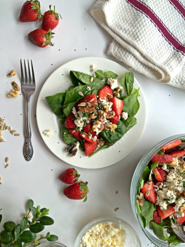 Strawberry Feta Salad. #salad #saladrecipe #sidedish #vegetarian #vegetarianrecipe #dinner #dinnertime #dinnermeal #lunchideas #vegetable #strawberry #potluckrecipe