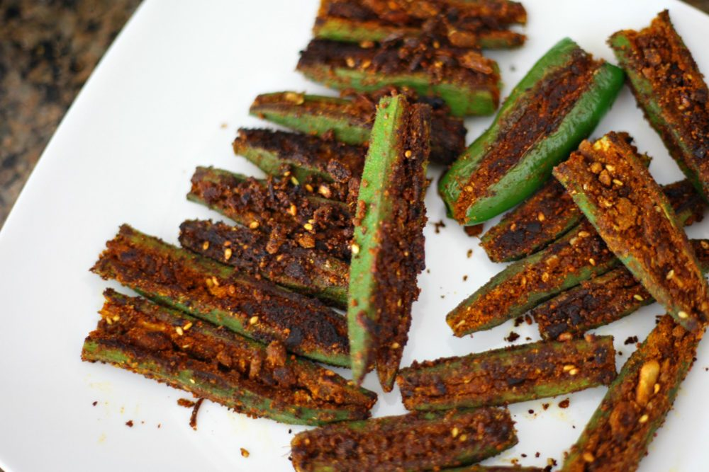Stuffed Okra #vegetable #vegetarian #vegetarianrecipe #sidedish #meatlessmonday #meatless #okra #appetizers #appetizer