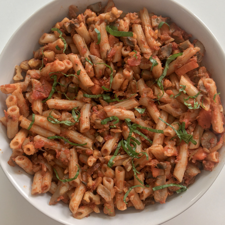 Mushroom and Walnut Bolognese Vegan gluten free pasta dish. #vegetarianrecipe #vegan #veganfood #glutenfree #meatlessmonday #meatless #pasta #dinnermeal #dinnerideas