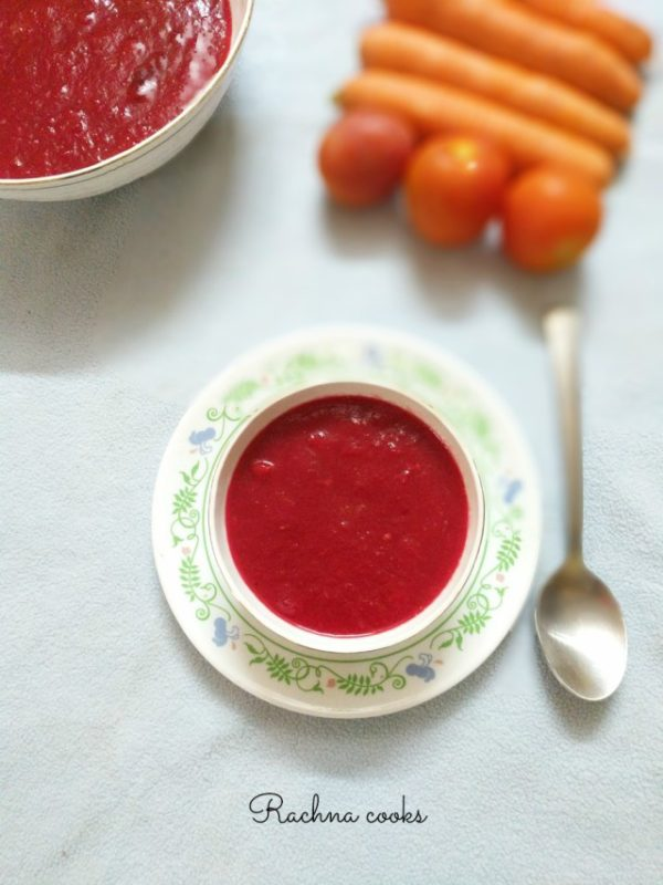 Tomato, Beetroot, and Carrot Soup vegetarian soup recipe. #vegetarian #vegetarianrecipes #vegetarianrecipe #soup #healthysouprecipe #souprecipe #easyrecipes #dinnermeal #dinnerideas #lunchideas