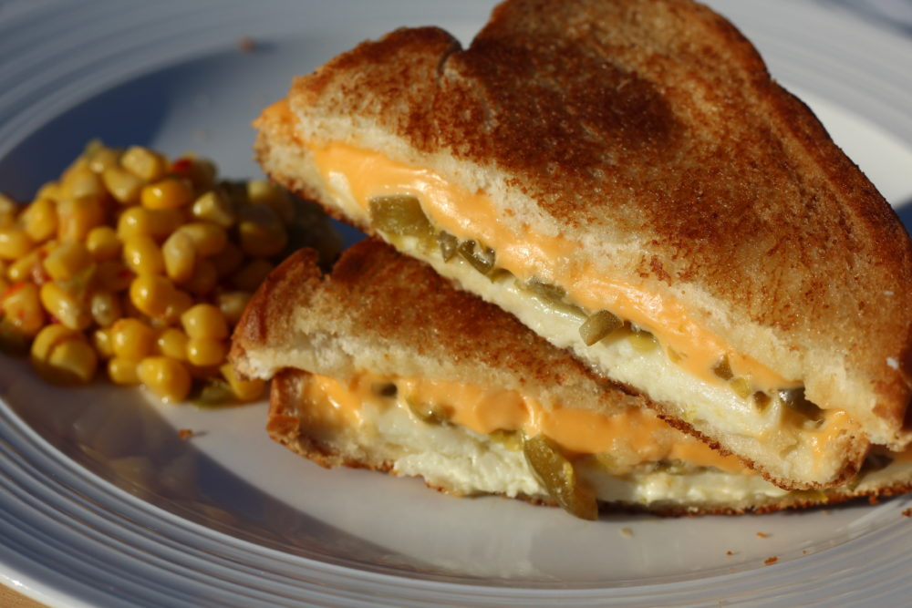 Easy Delicious Jalapeno Grilled Cheese Sandwich with 2 Cheeses plate. Vegetarian sandwich. #grilledcheese #cheese #sandwich #easyrecipes #jalapeno #lunchideas #dinnerideas #vegetarian #vegetarianrecipes #meatlessmonday #meatless