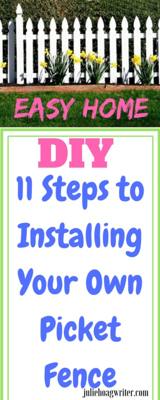 Easy Home DIY 11 Steps to Installing Your own White Picket Fence. Outdoor DIY Home Project. #diy #diyhomedecor #diyproject #easydiy #easydiyhome #easyhomediy #fenceideas #fences #whitepicketfence #doityourself #home #homesweethome #homeimprovement #building #howtobuildafence