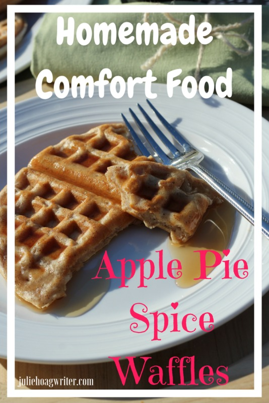 Homemade Comfort Food Apple Pie Spice Waffles breakfast recipe or brunch recipe. Easy recipe and delicious. Reminiscent of the Great American apple pie. #waffles #applepie #breakfastrecipes #breakfast #brunch #brunchideas #easyrecipe #easyrecipes #breakfastlovers #comfortfood #delicious #foodblogger #foodblog #foodie #recipeoftheday #homemade #homemaderecipes juliehoagwriter