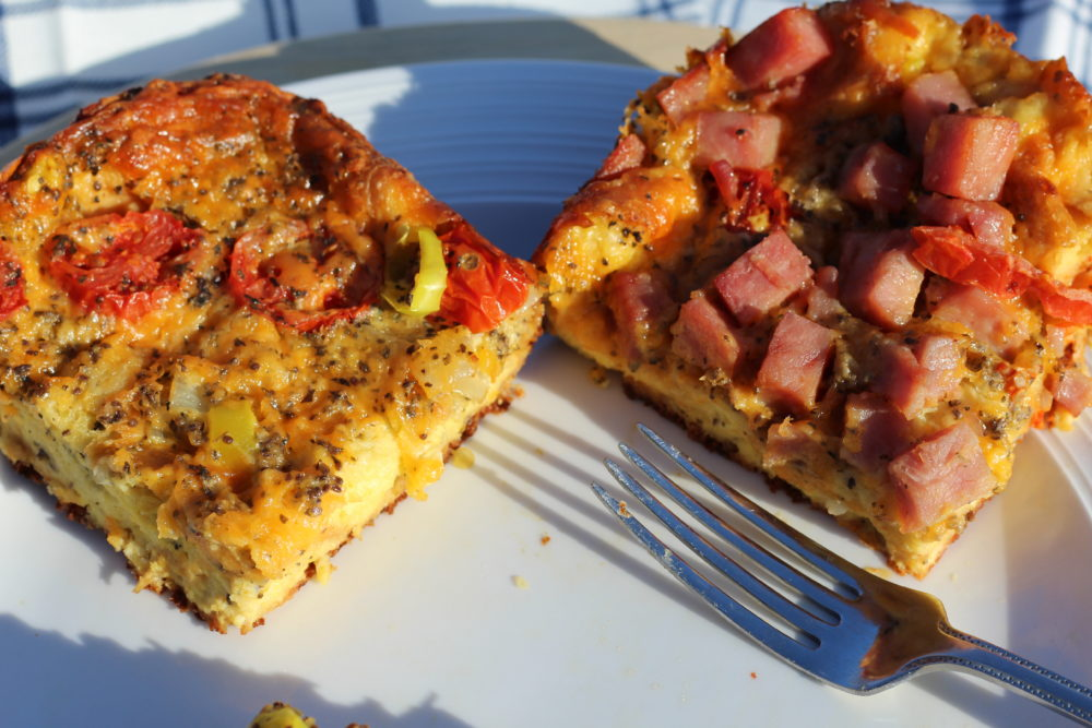 Tomato Basil Hybrid Vegetarian & Ham Croissant Crust Quiche Vegetarian and Ham pieces for a hybrid dish. Meatless and meat portion from one recipe. #quiches #quicherecipe #eggs #eggbake #brunch #brunchideas #breakfast #breakfastrecipes #easyrecipes #hybrid #maindish #maincourse #lunch