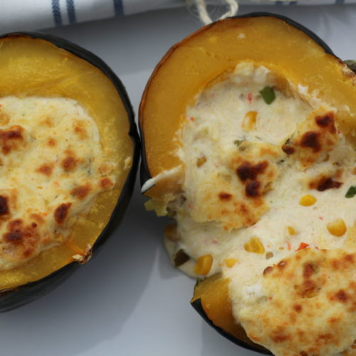 Twice Baked Acorn Squash Stuffed with Cheese and Corn