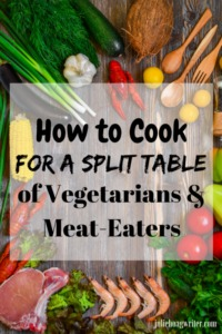 How to Cook for a Split Table of Vegetarians and Meat Eaters in hybrid recipes that contain a meatless and meat containing portion. Cooking tips on how to easily make split tables recipes for breakfast, brunch, lunch, and dinner. #cookingtips #vegetarianrecipes #hybrid #dinnerrecipes #juliehoagwriter #meatlessmondaymeals #breakfastrecipes #brunch #recipeideas